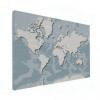 Wereldkaart Perspectief Blauwtint