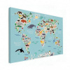 Afbeelding van Wereldkaart Ons Dierenrijk En De Continenten - Houten plaat 80x60