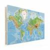 Afbeelding van Wereldkaart Aardrijkskundig Origineel - Verticale planken hout 90x60