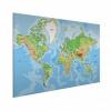 Afbeelding van Wereldkaart Aardrijkskundig Origineel - Wit aluminium 120x80