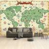 Afbeelding van Wereldkaart Van Vroeger - Airtex behang 265x400