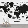 Afbeelding van Wereldkaart Zwart Gebiednamen - Airtex behang 265x350