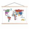 Afbeelding van Wereldkaart Continenten In Tekst Kleur - Schoolplaat 60x40