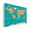 Afbeelding van Wereldkaart Leerzaam En Leuk - Horizontale planken hout 80x60