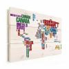 Afbeelding van Wereldkaart Continenten In Tekst Kleur - Verticale planken hout 80x60