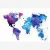 Afbeelding van Wereldkaart Paarstint Aquarel - Houten plaat 80x60
