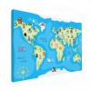 Wereldkaart Vrolijke Dieren Van De Wereld
