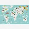 Afbeelding van Wereldkaart Prent Vervoersmiddelen - Houten plaat 120x80