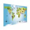 Afbeelding van Wereldkaart Onze Bewoners Prent - Houten plaat 120x80