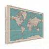 Afbeelding van Wereldkaart Aardrijkskundig Rode Grenzen - Verticale planken hout 80x60