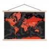 Afbeelding van Wereldkaart Rood Land Zwart Water Apocalypse - Schoolplaat 60x40