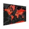 Afbeelding van Wereldkaart Rood Land Zwart Water Apocalypse - Houten plaat 40x30