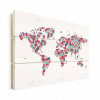 Afbeelding van Wereldkaart Butterfly Earth - Horizontale planken hout 80x60
