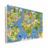 Afbeelding van Wereldkaart Prent Dieren En Bezienswaardigheden - Horizontale planken hout 90x60