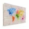 Afbeelding van Wereldkaart Atristiek Gekleurde Verfspatters - Horizontale planken hout 90x60
