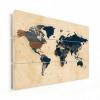 Afbeelding van Wereldkaart Landen Donkere Tinten - Verticale planken hout 120x80