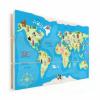 Afbeelding van Wereldkaart Vrolijke Dieren Van De Wereld - Horizontale planken hout 120x80
