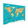 Afbeelding van Wereldkaart Leerzaam En Leuk - Houten plaat 60x40