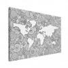Wereldkaart Circelpatroon Zee Zwart