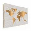 Afbeelding van Wereldkaart Golden Waves - Horizontale planken hout 80x60