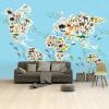 Afbeelding van Wereldkaart Dieren Van De Wereld - Airtex behang 265x350