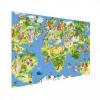 Afbeelding van Wereldkaart Prent Dieren En Bezienswaardigheden - Houten plaat 120x80