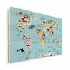 Afbeelding van Wereldkaart Ons Dierenrijk En De Continenten - Horizontale planken hout 90x60