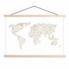 Afbeelding van Wereldkaart Geometrische Gouden Lijnen Grijs - Schoolplaat 90x60