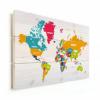Afbeelding van Wereldkaart Grote Landnamen - Horizontale planken hout 80x60