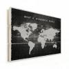Afbeelding van Wereldkaart What A Wonderful World Zwart - Horizontale planken hout 40x30