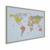 Afbeelding van Wereldkaart Aardrijkskundig Explore Kleuren - Houten plaat 80x60