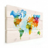 Afbeelding van Wereldkaart Ecoline Kleuren - Horizontale planken hout 40x30