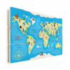 Afbeelding van Wereldkaart Vrolijke Dieren Van De Wereld - Verticale planken hout 80x60