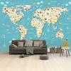 Afbeelding van Wereldkaart Spot Alle Dieren - Vinylbehang 265x350