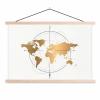Afbeelding van Wereldkaart Golden Compass - Schoolplaat 60x40