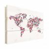Afbeelding van Wereldkaart Butterfly Earth - Verticale planken hout 40x30