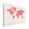 Afbeelding van Wereldkaart We Need Some Pink - Verticale planken hout 80x60