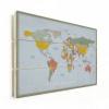 Afbeelding van Wereldkaart Aardrijkskundig Explore Kleuren - Verticale planken hout 40x30