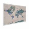 Afbeelding van Wereldkaart Aardrijkskundig Groentinten Diagonale Strepen - Houten plaat 60x40