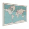 Afbeelding van Wereldkaart Aardrijkskundig Rode Grenzen - Plexiglas 120x90