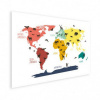 Afbeelding van Wereldkaart Dieren Per Continent Kleuren - Houten plaat 120x80