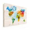 Afbeelding van Wereldkaart Ecoline Kleuren - Verticale planken hout 80x60