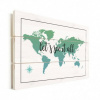 Afbeelding van Wereldkaart Let's See It All Groen - Verticale planken hout 80x60