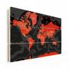 Afbeelding van Wereldkaart Rood Land Zwart Water Apocalypse - Verticale planken hout 90x60
