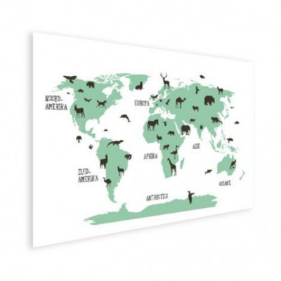 Wereldkaart Dieren Per Continent Groen - Houten plaat 120x80