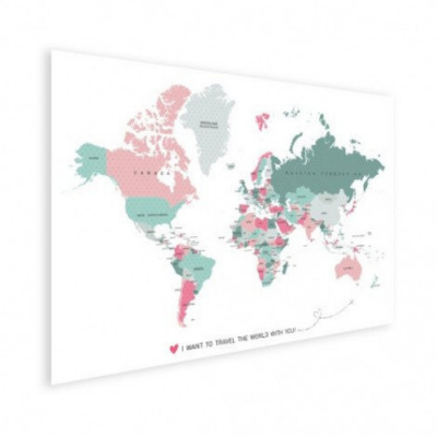 Wereldkaart I Want To Travel The World With You - Houten plaat 80x60