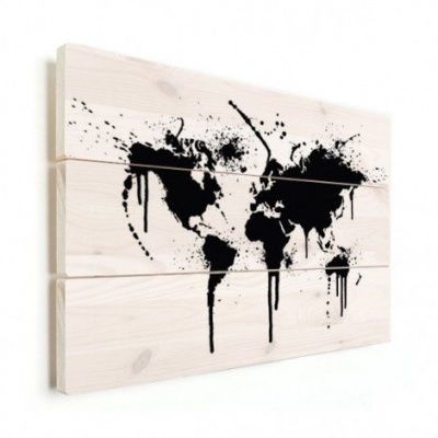 Wereldkaart Artistieke Spots - Horizontale planken hout 40x30