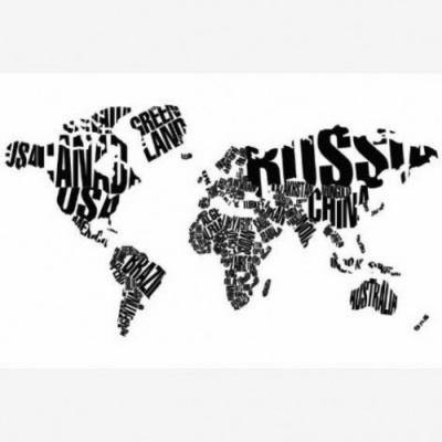 Wereldkaart Landmassa In Letters Zwart - Houten plaat 40x30