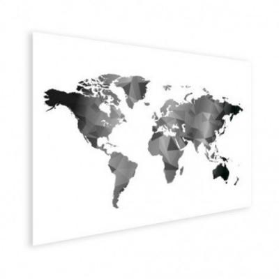 Wereldkaart Geometrische Vakken Wit - Houten plaat 80x60