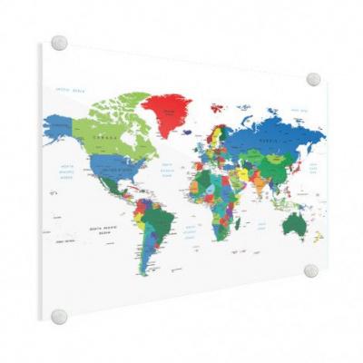 Wereldkaart Alle Landen - Plexiglas 160x80